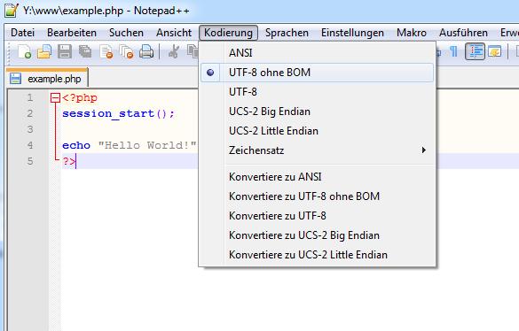 UTF-8 ohne BOM in Notepad++