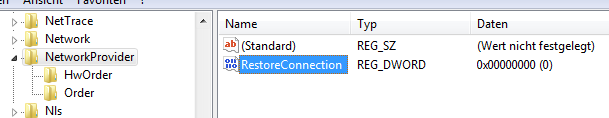 Registry: RestoreConnection
